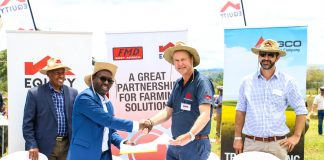 Equity Bank Asset Finance Manager, Charles Nyoro (left) and director Sales and Marketing at AGCO, Dominik Reus (right)